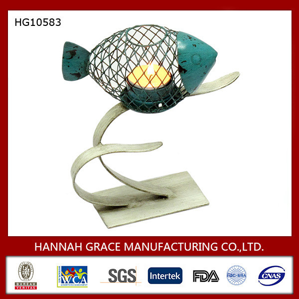 Wire Bule Fish Shape Candle Holder On Sea-Plant Stand