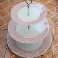 Tempered Glass Cake Plate With Metal