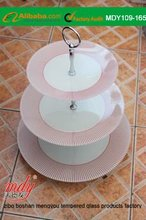 Tempered Glass Cake plate with Metal Stand