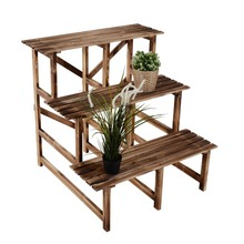 "Outsunny 32"" Wooden 3-Tier Step Style Plant Stand or wooden flowers shelf"