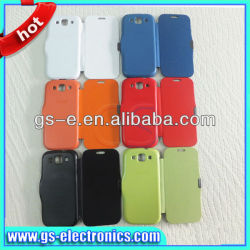 New arrival PU Flip leather case for samsung S3 I9300, multi color magnetic flip cover case for samsung s3 9300