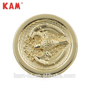Bossed Eagle Round Shape Lemon Gold Fancy Metal Jeans Buttons