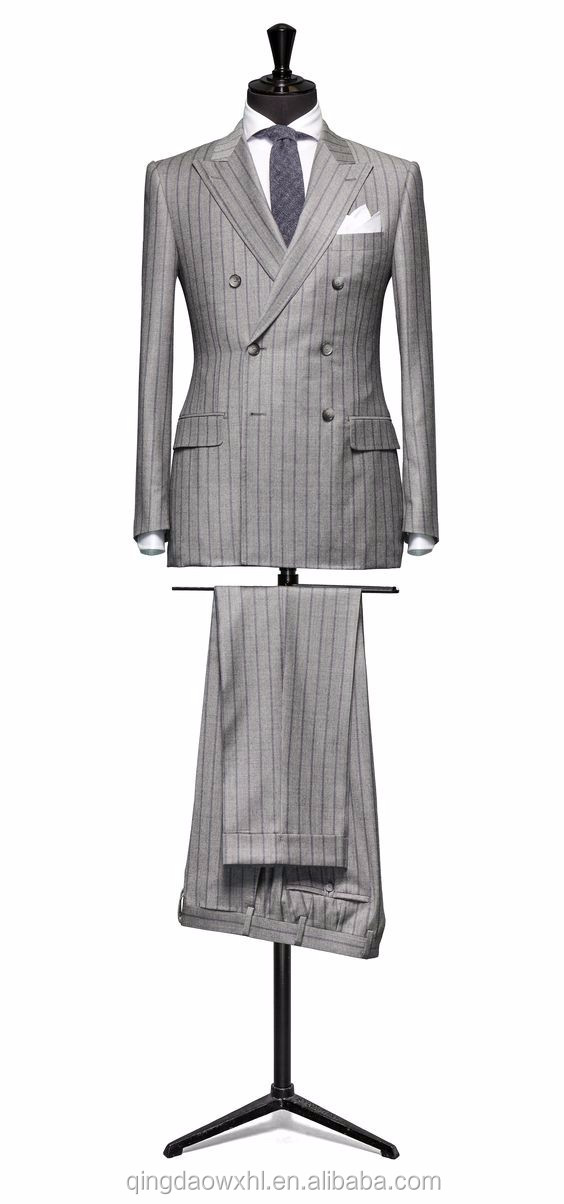 New pant coat designs double breasted pinstripes fashion men suit
