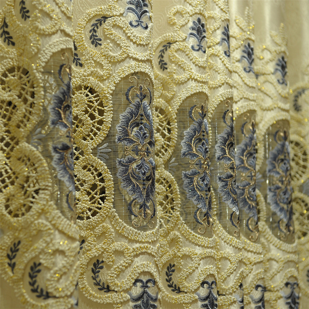 Polyester Cotton jacquard curtain with metallic grey velvet embroidered in towel style velvet appliques, window curtain 6107-1