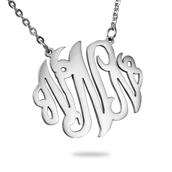 "Stainless Steel Monogram Necklace Silver Tone Alphabet /Letter Message "" <strong>N</strong> "" 46cm -"