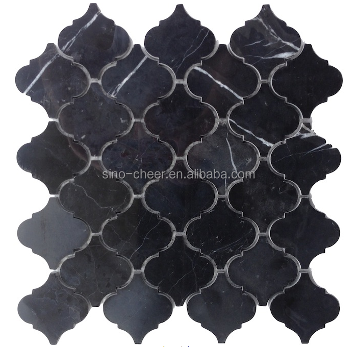 Nero Marquina Black Marble Baroque Arabesque Lanterns Honed Mosaic Tile