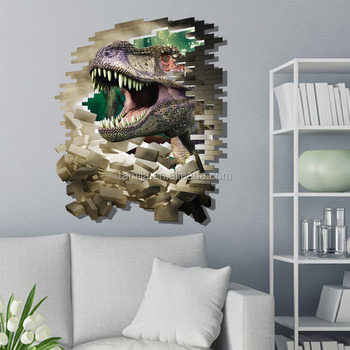Decorative 3d removable dinosaur wall sticker for living room