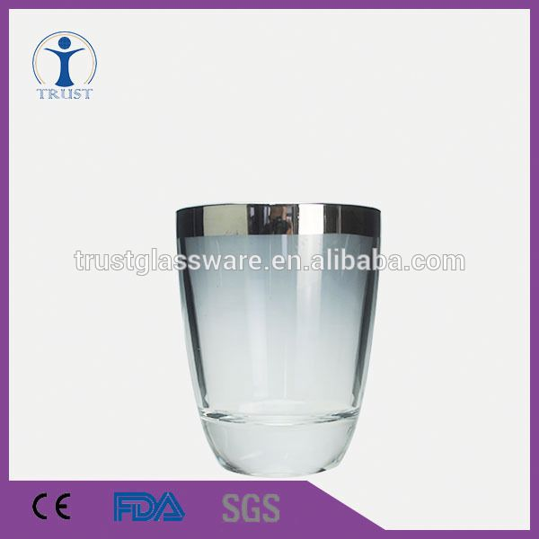 China Factory Thick Lines Silver Rim Gray Classic Home Restaurant Decoration Wine Glass Cup