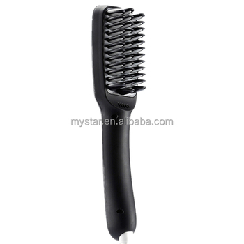 Three color electric brush with 2 in 1 anion straight comb hair straightener