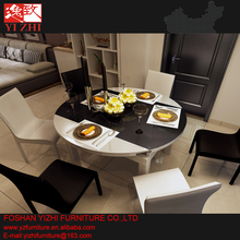 High Gloss MDF Furniture Glass Extendable Dining Table and Chair