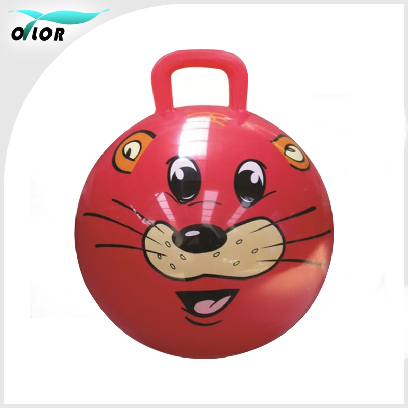 Eco-friendly space PVC hopper ball Jumping Ball With square Handle