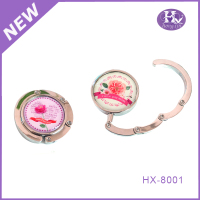 HX-8001 Pink ladies stylish foldable metal bag hanger