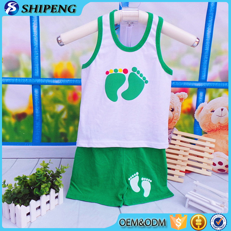 High grade children clothing wholesale new fashion designer printed tank tops and shorts sets baby suit