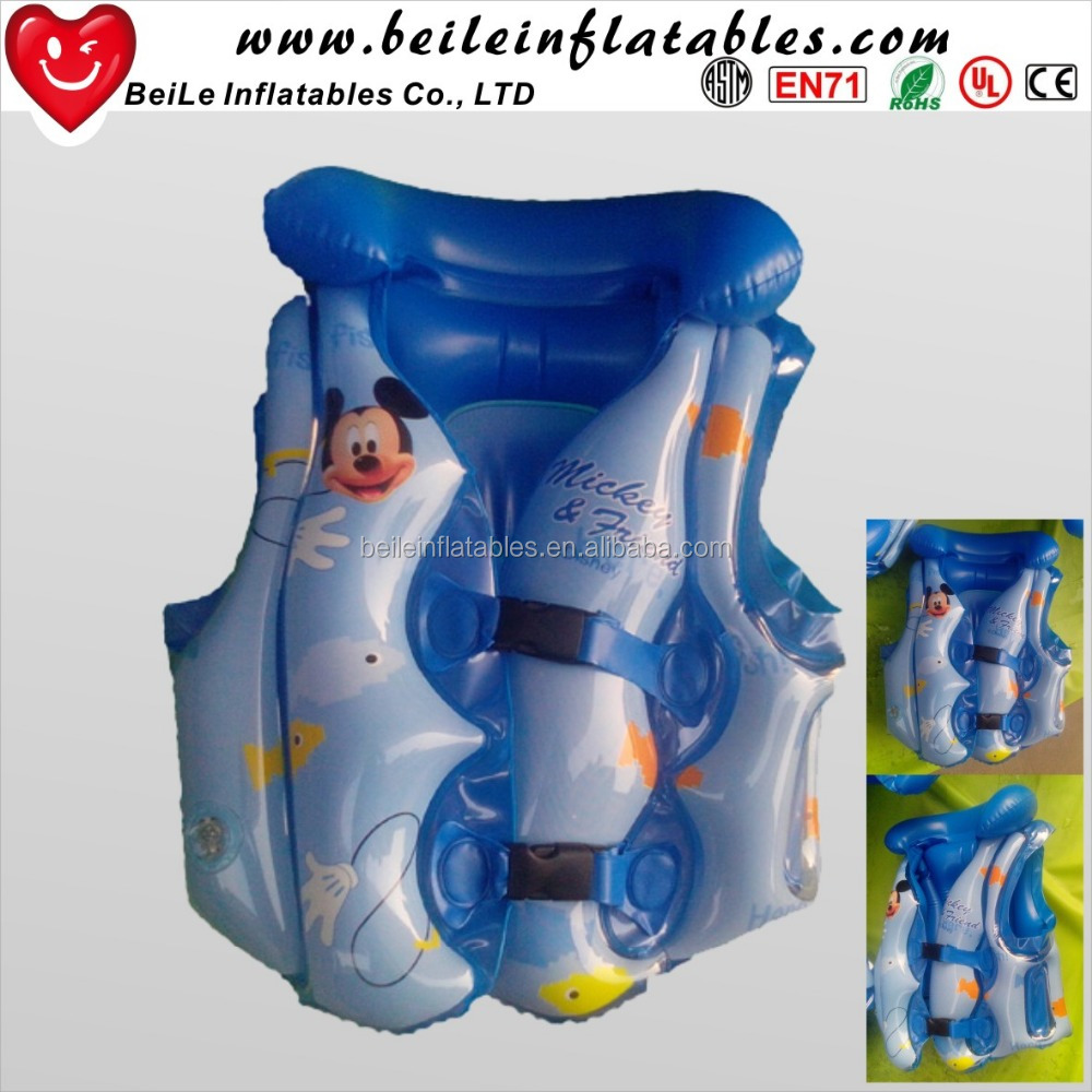 PVC inflatable children water swim vest floating life jacket
