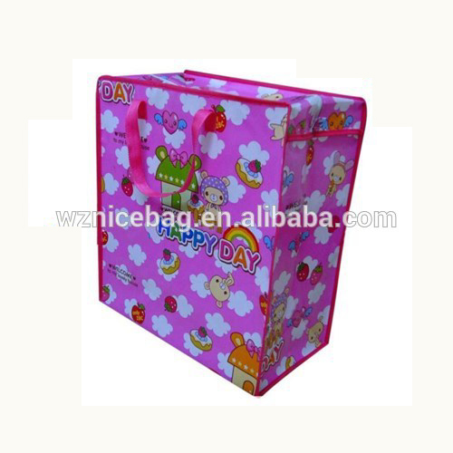customized big size reusable opp laminated pp woven zipper bag made in Cangnan