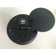 Universal Power Desktop Electric Sliding Round Cover Socket/Faster USB Charging Table Outlet