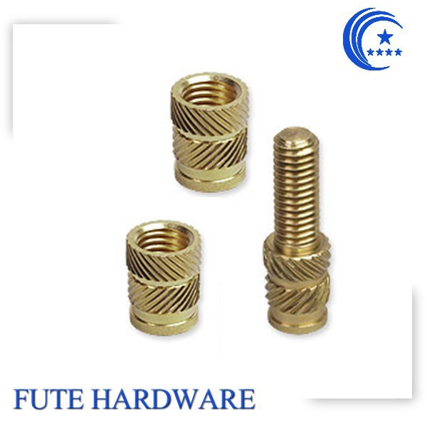 Brass/aluminum/SS custom turning metal insert for plastic, knurled through hole nut