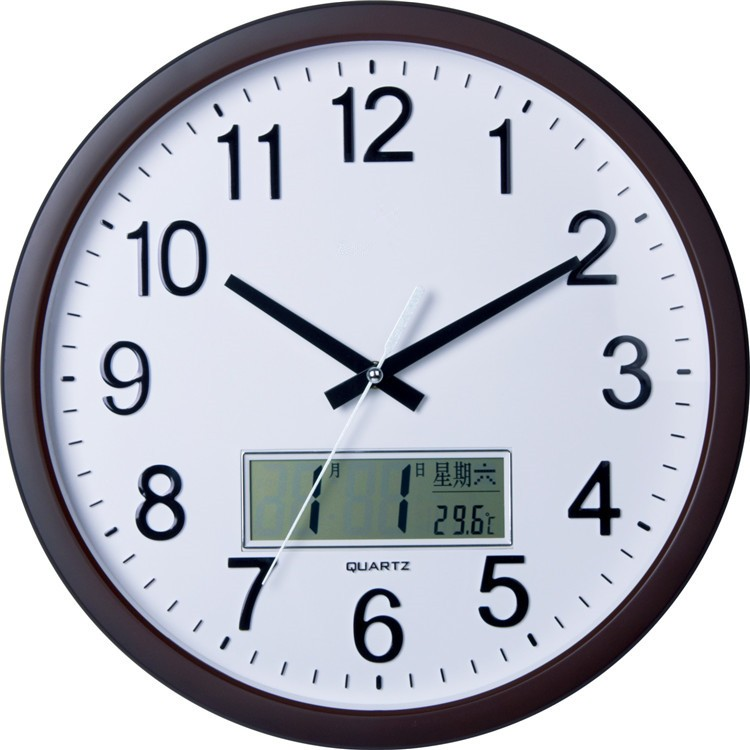 Analog Wall Clock With Digital Lcd Calendar Plastic Wall