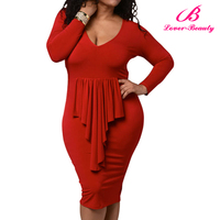 PayPal Accepted Long Sleeves Red Bodycon Fat Women Dresses Pictures