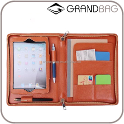 High quality Tablet Case for Ipad Mini Genuine Leather Portfolio with Writing Pad