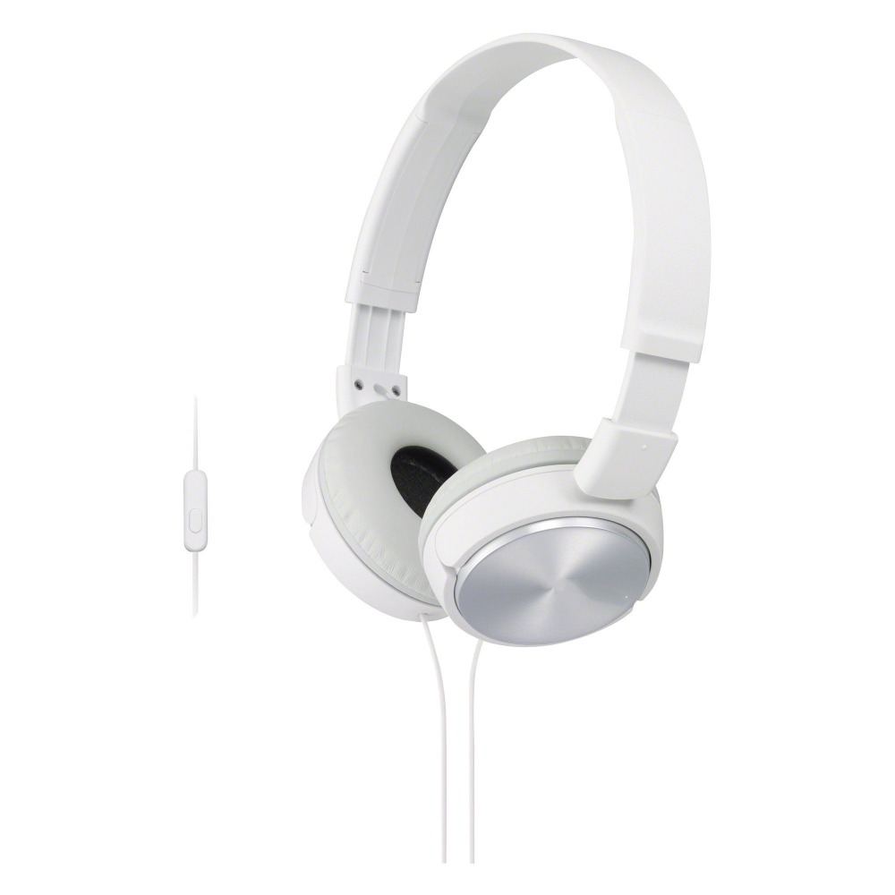 Lightweight cool white headphone with aluminum overlay, headphone with microphone