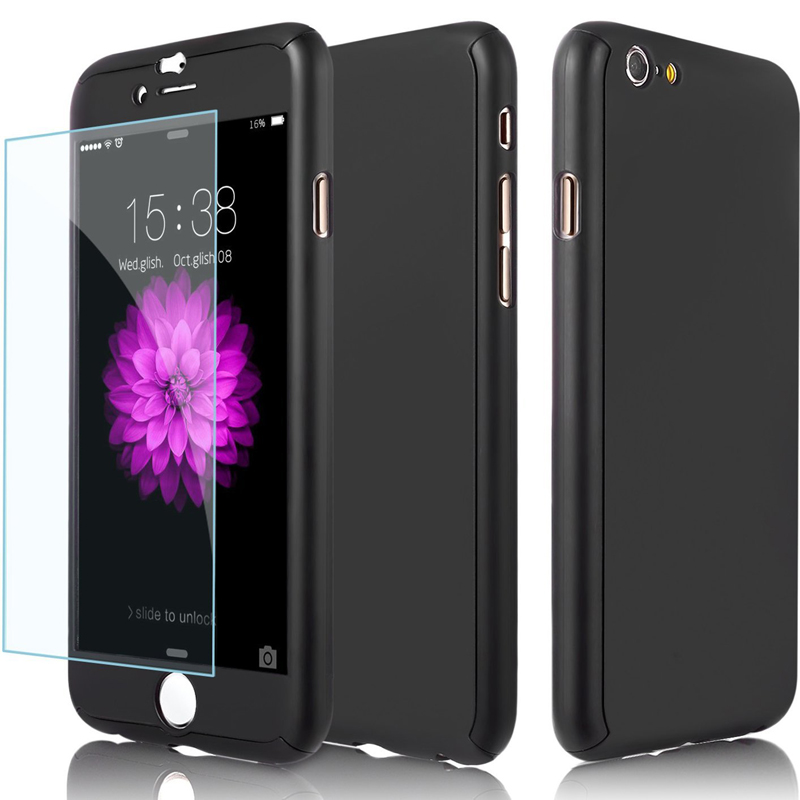 New 360 Full Body Hybrid PC Hard Phone Case Cover with Tempered Glass for iphone 5s 6s 6 plus 7