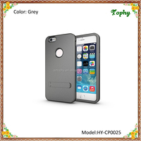 Factory Wholesale Gray 3 in 1 Strong Box TPU + PC Hybrid Combo Cover For iphone 6 Plus Stand Case