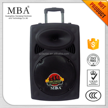 high quality large outdoor super woofer pa bass portable speaker driver with handle and wheels
