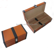creative wooden leather wine carrying case for sale