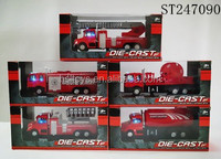2015 HOT SELL ! 5 Ass' 1:60pull back die-cast fire fighting truck model toys with music and light