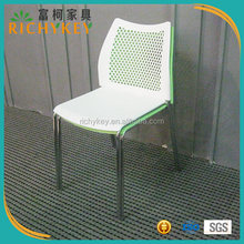 Light Weight Full Stacking Plastic Chair With Chrome Coated Steel Tube Frame