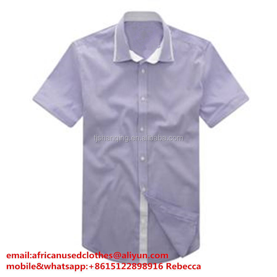 used clothing/ used clothes wholesale, silver grey colour men cotton shirt for exporting