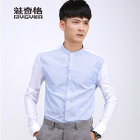 new design stand collar cotton casual mens shirt
