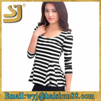 fashion design women clothing blouse design for ladies wholesale striped shirt