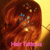 Dreamlike charming temporary tattoo, hair decoration, hair accessory