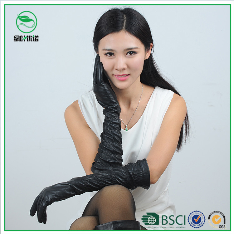 Sexy Women Black Color Leather Opera Gloves
