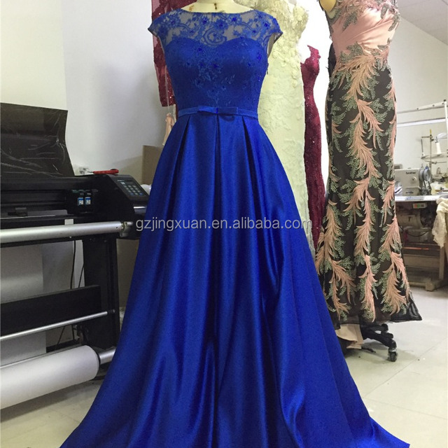 Blue Long Chiffon Prom Dress Evening Cocktail Party Formal Cap Sleeves Bridesmaid Gown with Belt