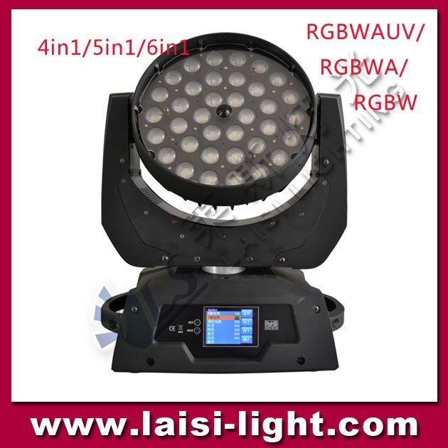 Zoom LED Moving Wash Light 36pcs 10W 4in1 LED Moving Wash Moving Head Light with RGBW color and mix color