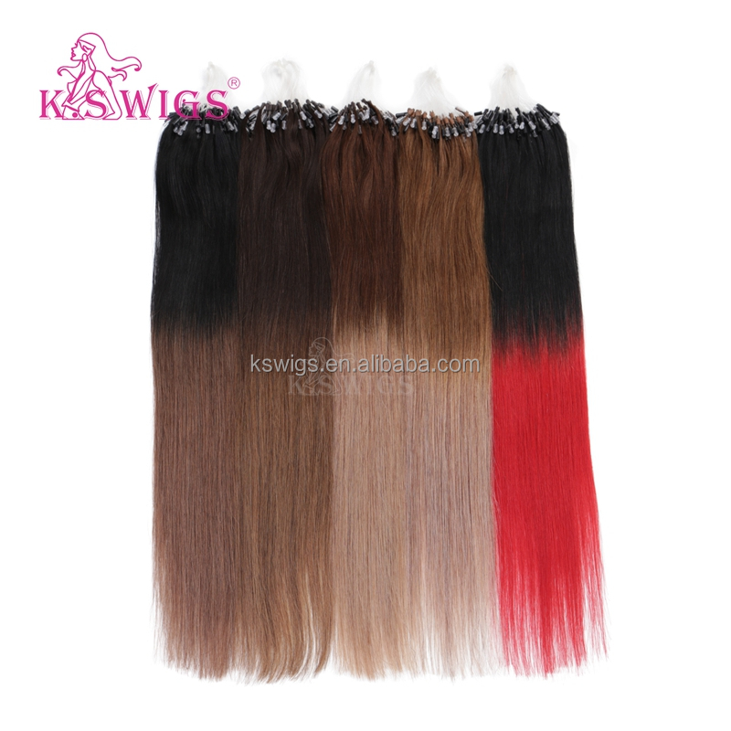 K.S WIGS 2016 Inventory Micro Ring Hair/Easy Loop Stunning Beautiful Color Indian Virgin Hair Wholesale Order Prices Extensions
