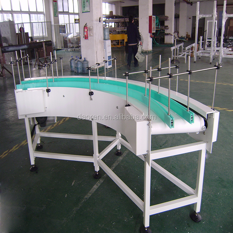 PVC belt conveyor system for bottle grade clamping