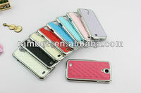 Chrome Hard Leather Case with Check Pattern affixed for Samsung Galaxy S4 i9500