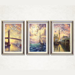 European Beautiful Water City Town Landscape Painting with Frame Printed on Canvas for Home Wall Decor Art