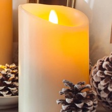 Real wax pillar shaped artificial flame led candle
