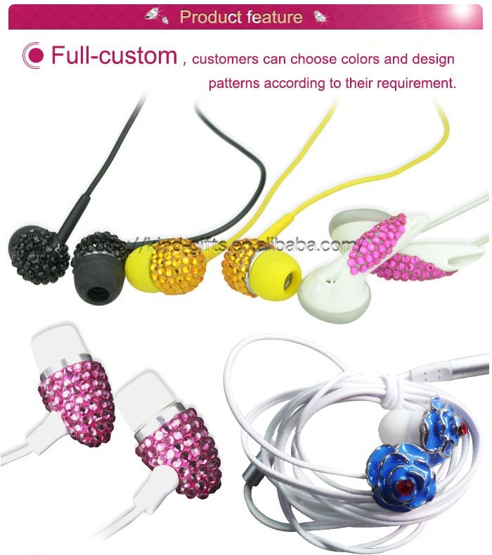 New Christmas Diamond Design Promotion Gift Earphone for Iphone, Samsung