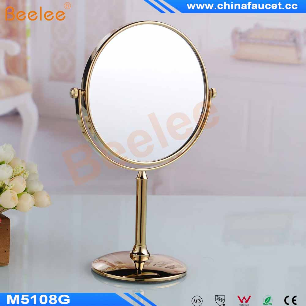 Beelee M5108G Gold-Plated Round Shaped Double Sided Table Mirror Free Standing Desktop Fancy Makeup Mirror