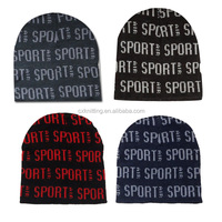 100% acrylic knitted hat with jacquard logo