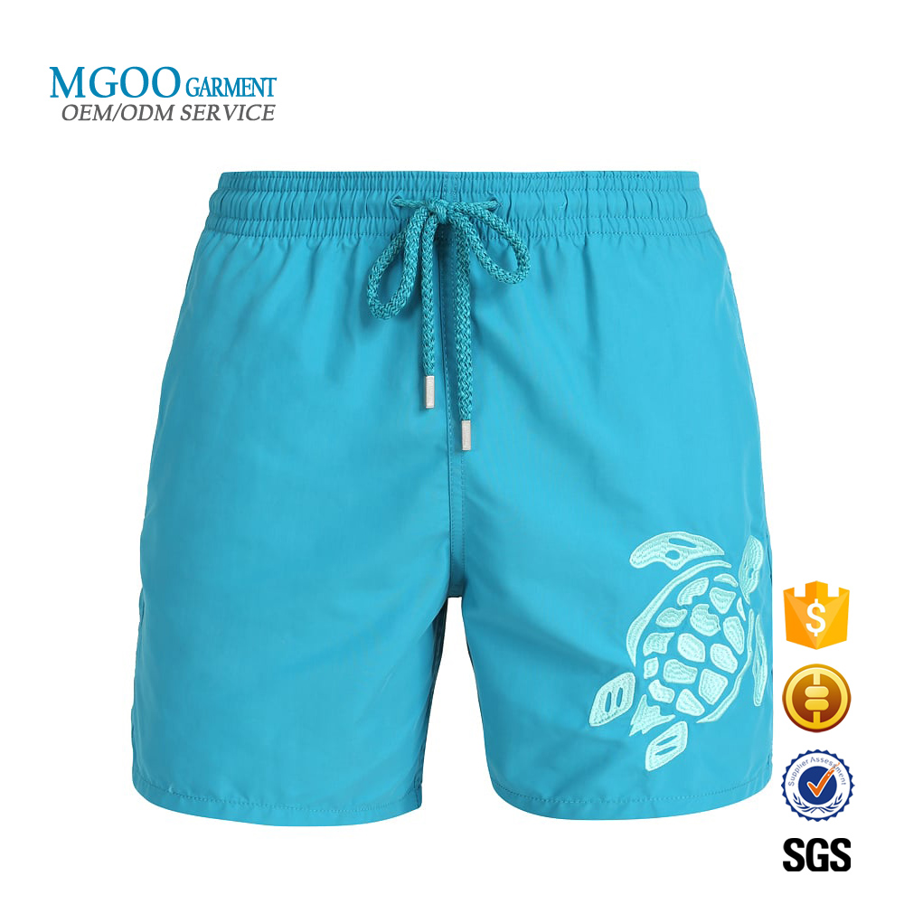Customized large graphic embroidered swim shorts Hot sale Turtle beachwear Wholesale holiday men swimming trunks