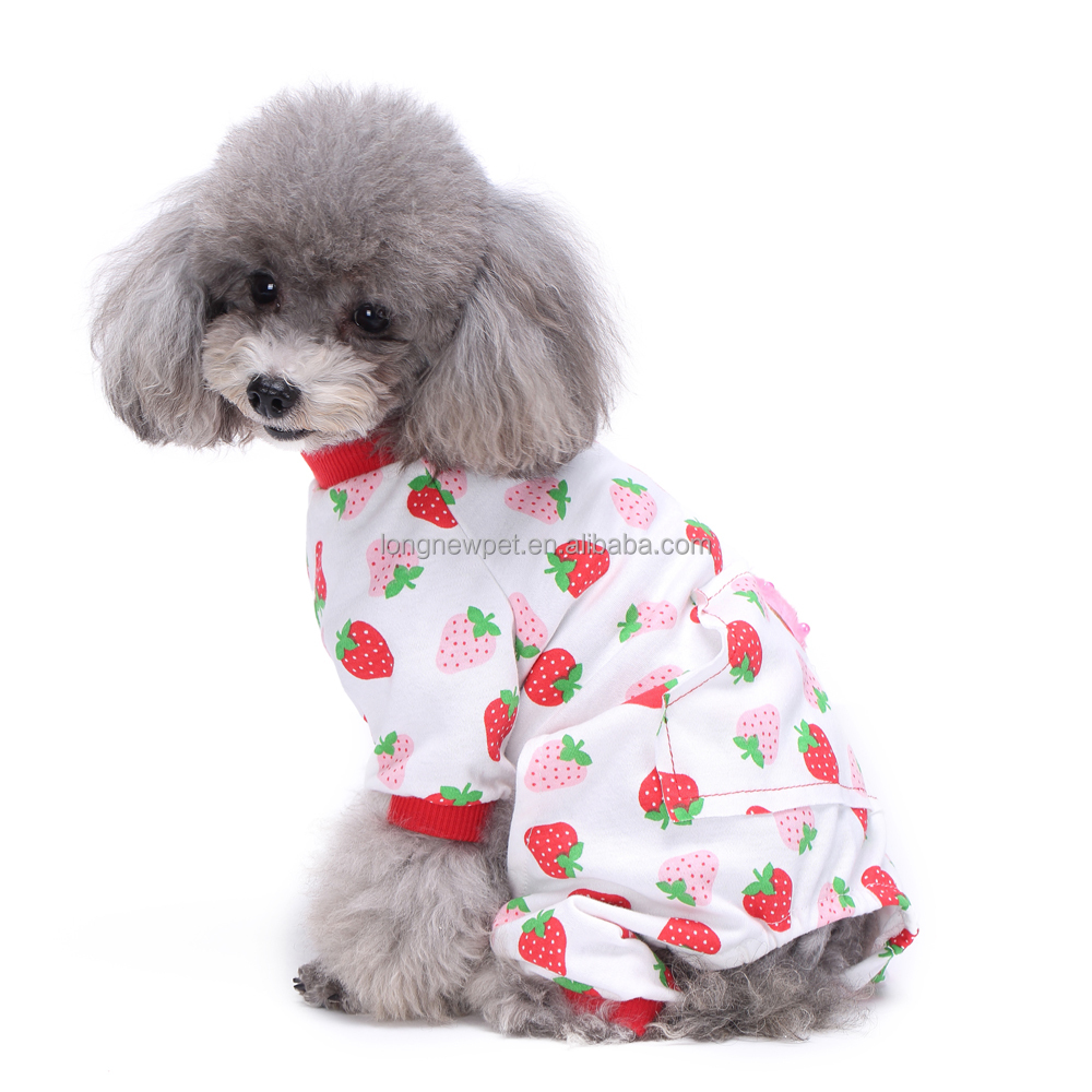 Wholesale Dog Supplies Cute Red Strawberry Little Dog Pajamas XS-XL Dog Coats With Legs Puppy Clothes For Sale