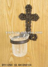 Cross decoration with glass cup