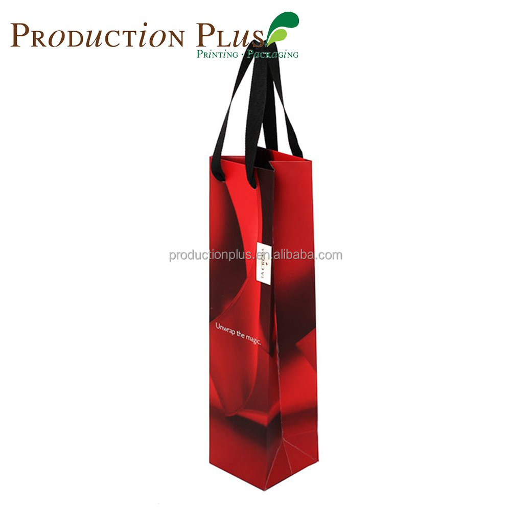 Customized Printing Delicate satin varnish Foil laminated wine vertical red paper bag